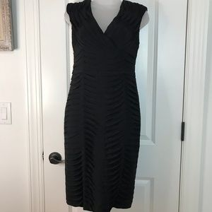 Adrianna Papell Black Pleated Cocktail Dress 4